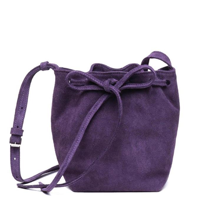 Suede BOO Bucket Bag Plum