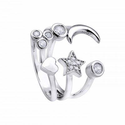 Anillo Pretty Jewels Abierto Sol, Luna, Estrella