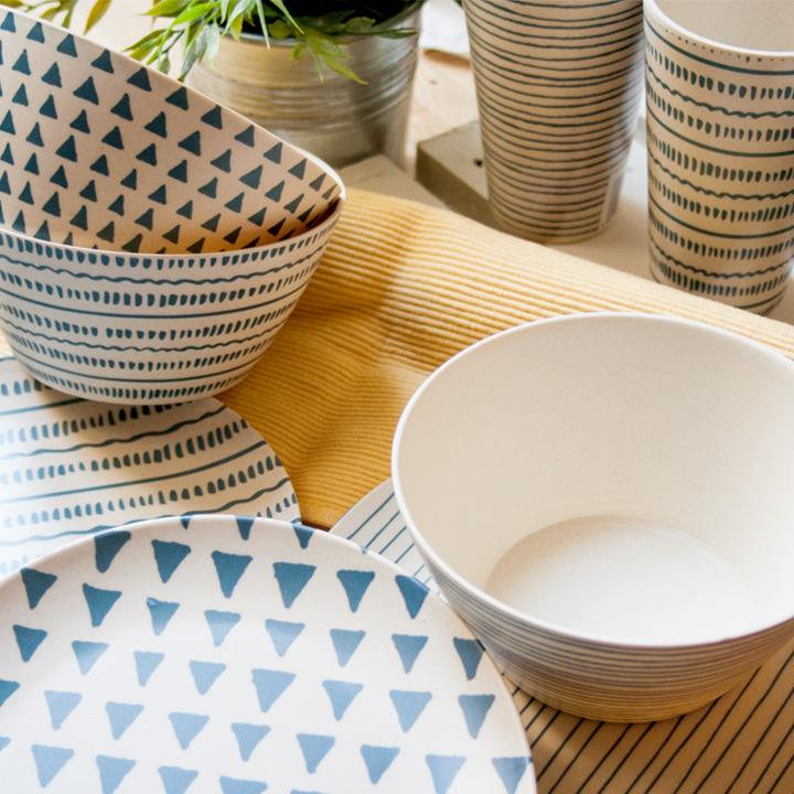 Vajilla Bambú azul