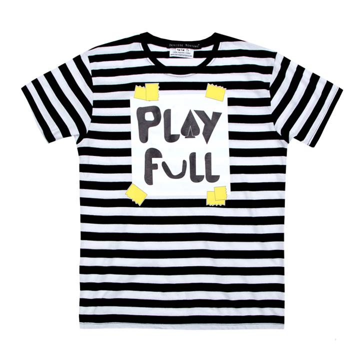 Camiseta de rayas negras y blancas PLAYFULL