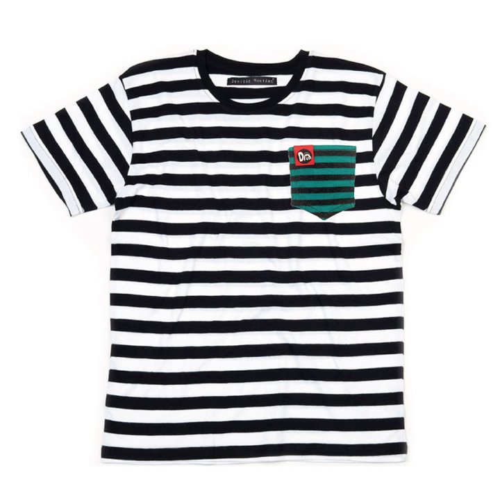 Camiseta rayas negras y blancas bolsillo verde Denisse Montáre