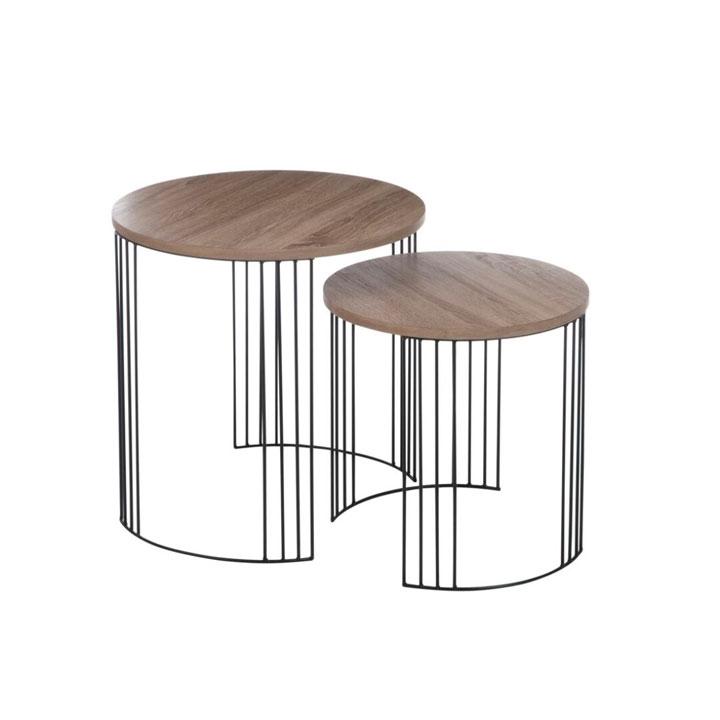 Set 2 mesas auxiliares madera y metal gourmandise - Mesas de centro y auxiliares ...