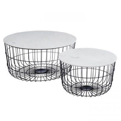 Set 2 mesas auxiliares cesta metal y mármol