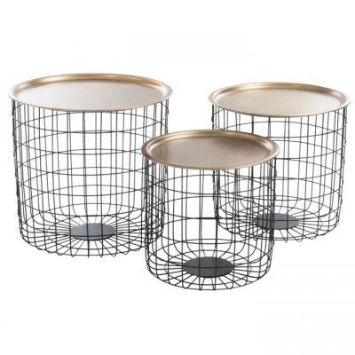 Set 3 mesas auxiliares cesta metal