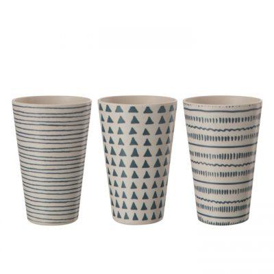 Set 6 vasos Bambú Azul