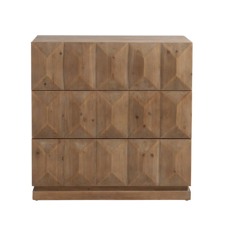 Cómoda 3 cajones de madera natural