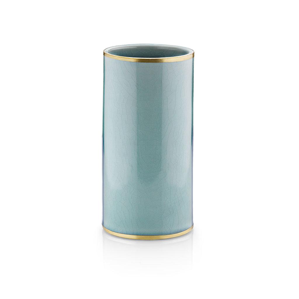 Florero cerámica craquelada Turquesa