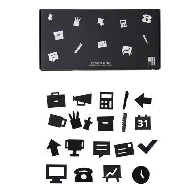 Iconos de oficina negros para tableros de mensajes