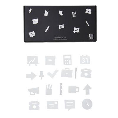 Iconos de oficina blancos para tableros de mensajes