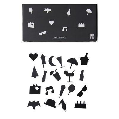 20 Iconos de fiesta negros para tableros de mensajes